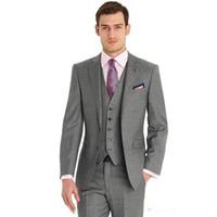 Nuevos trajes de hombre de boda grises Slim Fit 3 Pices (Chaqueta + Pantalones + Chaleco) Novio Use Esmoquin Novio Trajes de Businss Mejor hombre Blazer 69