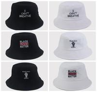 أنا لا أستطيع التنفس الصياد قبعة سوداء حياة المسألة دلو القبعات أزياء الصيف التطريز واقية من الشمس قبعات أغطية للرأس الحزب اللوازم 6styles RRA3135
