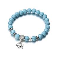 1 stücke Vintage Klassische Acryl Blau Perlen Armbänder Nachahmung Naturstein Elefant Anhänger Perlenarmband für Männer Frauen Schmuck