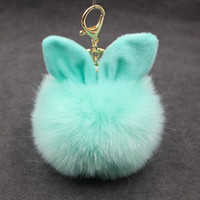 Car Fluffy Faux lapin oreille fourrure boule clé Porte-chaîne Lapin Pompon fourrure artificielle Keychain Femmes voiture HandBag Keyring