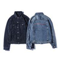 유명한 남성 데님 자켓 남성 여성 높은 품질 캐주얼 코트 블랙 블루 패션 남성 자켓 스타일리스트 착실히 보내다 크기 M-XXL