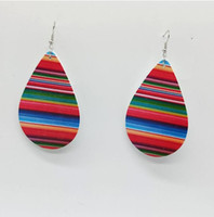 Printed drip wood earrings Hot Sale Serape Print Earring for...