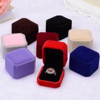 2017 New Fashion 10 color quadrato quadrato velluto scatola di gioielli rosso gadget box anello anello orecchini J015