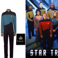 b91e46346c9 Косплей Star Trek TNG Комбинезон Униформа Новое поколение Синий костюм  Униформа Хэллоуин Косплей Костюм для взрослых