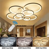 Moderne LED-Dimm-Kronleuchter-Lichter Anhänger Deckenleuchte mit Fernbedienung für Wohnzimmer Küche Schlafzimmerstudium