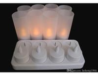 Nueva luz llevada creativa recargables luz de las velas de cera Pequeño té sin humo de las velas de la lámpara 8 Asientos 58sh Simulación velas de alta calidad