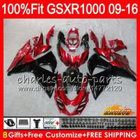 Injectie voor Suzuki Dark Red BLK GSXR1000 2009 2010 2011 2012 2014 2015 2016 16HC.20 GSXR-1000 K9 GSXR 1000 09 10 11 12 13 15 16 Kuip