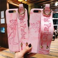 아이폰 X XS MAX XR 기가 핑크 팬더 패턴 지갑의 경우 아이폰의 경우 핸드 스트랩 전화 케이스 스탠드 7 7plus 8 × 플러스 6plus 커버 8plus