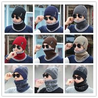9 Designs Winter Hat Scarf Set Knitted Hat With Mask Hood Be...
