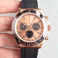 TONA M116515LN 시리즈 40mm 사파이어 다이얼 세라믹 베젤 자동 기계 운동 고무 oysterflex 스트랩 럭셔리 남성 시계 손목 시계