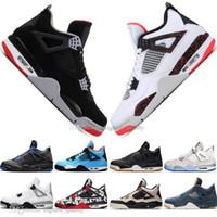 Com Box melhor qualidade New Bred 4 4s Que Os Sapatos Asas Cactus Jack Laser Mens Basketball Eminem pálidas Sneakers Citron Homens Esportes