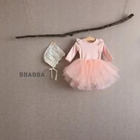 Bahar Güz bebek çocuk giysileri Romper Uzun Kollu Katı Renk Romper + Tutu Etek% 100 pamuk kız çocuk Giyim 0-2T