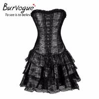 Bustiers Korsetts Burvogue Sexy Steampunk und Burlesque Gothic Lace Corset Kleid Plus Größe Kostüm Blumen Bustier