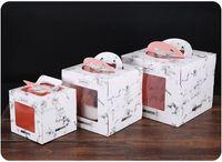 4/6/8/10 Zoll Marmor Design Papiergriff Tortenschachtel mit transparentem Fenster, Fenster Öffnen Box Mousse Kuchen backen Paketkasten 50pcs