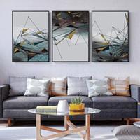حديث تجريدي هندسي صورة جدار الفن قماش اللوحة ملصقات الشمال الذهبية والمطبوعات جدار صور ديكور لغرفة المعيشة