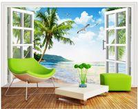 Hintergrund der Seefensterlandschaftshintergrundwand 3D, der moderne Wohnzimmertapeten malt