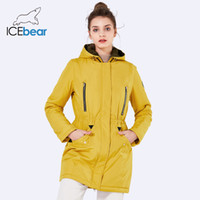 ICEbear 2019 New Brand Clothing Women Spring Parka Womens Long Thin Jacket With Hat Detachable Warm Coat 16G262D T5190612
