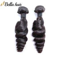 인도 인간의 머리 확장 처리되지 않은 버진 헤어 번들 느슨한 웨이브 1 또는 2 or3pcs / 많은 자연 색상 8-30 인치 Bellahair 무료 배송