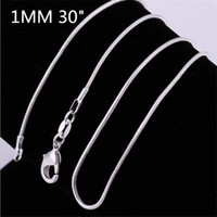 wholesa100pcs Silver plated smooth snake chains Necklace 1MM...