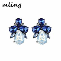 New Fashion Earrings Rhinestone Sweet Metal With Gems Ear St...