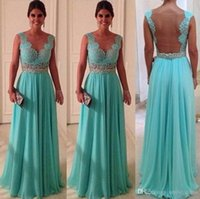 Charming Turquoise Bridesmaid Dresses Open Back Beads Sash W...