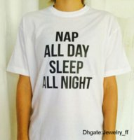 Nap All Day Sleep All Night Letters Print Women T Shirt Cott...