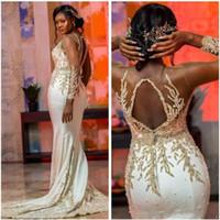 2020 Aso Ebi árabe de lujo con cuentas vestidos de noche de encaje transparente sirena del cuello de vestidos de baile mangas largas formales vestidos del partido segunda recepción