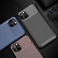 Caso de lujo para el caso del iPhone del teléfono 11 de silicona para el iPhone cubierta protectora 11 Pro Max 2019 de fibra de carbono para el iPhone