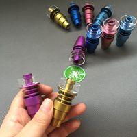 Regenbogen-buntes Dabber-Werkzeug Titanium-Nagel mit Quarzschale 10mm 14mm18mm-Buchse 6 in 1 dome-lose GR2-Titanium-Nägel für Glasbongs