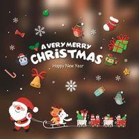 Santa Murales Tienda de Renos Pegatinas de Ventana Decorado Navidad Pegatinas de Pared de Cristal Copo de nieve Ventana Hogar Decoración de Navidad
