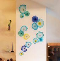 Американские Мурано Цветочные плиты Искусства Лампы Blue Shate Художественные Украшения 100% Ручной Взлелый Стекло Висячие Плиты Стена С Грезоротом Крагов
