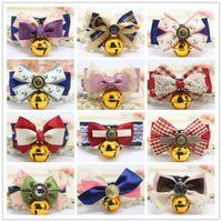 Bells Bow Tie Kediler Bow Tie Emniyet Elastik Papyon Bell çoklu renkler Pet ile DHL Kedi Yakalar Köpek Kedi Bell ilmek Yaka besler