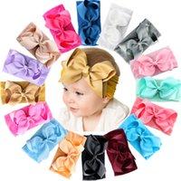 16 개 색상 아기 나일론 매듭 머리띠 여자 큰 6 인치 헤어 리본 머리 랩 유아 유아 머리띠