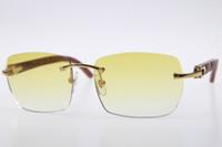 Kostenloser Versand Holz geschnitzt SunGlasses populär 8200905 Randlos Brille Hot Unisex Holz Sonnenbrille Katzenauge mit Kasten Brown-Objektiv