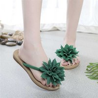 Women Plus Size Slippers Summer Floral Casual Solid Color Fl...