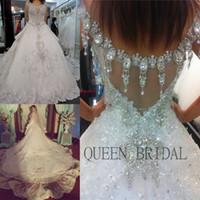 Дубай арабских роскошных кристаллы блестка кружево бисер линия платье 2020 платье невесты свадебное платье платья для свадьбы