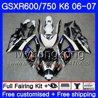 Corpo Para SUZUKI GSXR 750 600 GSX R600 R750 GSXR750 06 07 296HM.4 GSX-R600 06 07 Novo azul blk quente GSXR-750 K6 GSXR600 2006 2007 Kit de carenagens