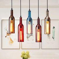 Vinflaska ljuskrona lampa e27 glas vintage hänge ljus för café bar salong restaurang hem juldekoration ledt ljus