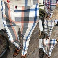 Gym Мужские брюки клетчатые костюмы Bottoms Узкие Joggers Пот Трек Брюки Chinos Брюки Sexy Slim Fit повседневные брюки плюс размер