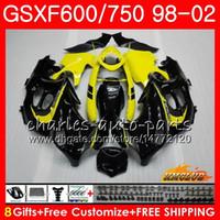 Corpo per Suzuki Katana GSXF 750 600 GSXF600 98 99 00 01 02 2HC.51 GSX750F GSX600F GSXF750 1998 1999 2000 2001 2002 Black Yellow Fairing Kit