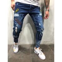 3 Stile Uomini strappato Skinny Jeans Destroyed motociclista Logoro Stampa ricamo Slim Fit Denim Pant Jean