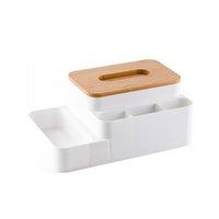 Multifonction Bamboo Cover Porte-serviettes Boîte de tissu en plastique Boîte de rangement Conteneur Conteneur Organisateur pour Home Bureau Blanc Gris Noir