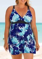 VGTOWN 플러스 사이즈 5XL 수영복 탱 키니 여성 수영복 여성 수영 상단 반바지 비치웨어 수영복 월 큰 두 조각 인쇄하기