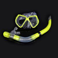 성인 수영 스쿠버 세미 드라이 스노클링 브레스 튜브 + 다이빙 마스크 유리 렌즈 세트 신축 수집품