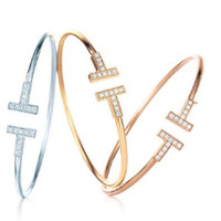 Chic braccialetto zircone lettera T doppia apertura gioielli braccialetto braccialetto 3colors lucida gioielli moda donna