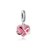 2020 Anneler günü Gül Köpüklü Infinity Kalp Dangle Charm 925 Gümüş Charms Fit Bilezikler Bileklik DIY Kolye Takı Yapımı İçin