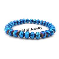 파란 AB 색깔 8mm면 처리 된 수정 같은 구슬로 만드는 팔찌 여자를위한 간단한 작풍 Stretchy 팔찌 20pcs / lot 도매