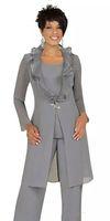 Элегантный серый шифон мать невесты грузовые костюмы с длинной курткой на заказ дешевые женщины свадьба гостевые платья вечерние наряды