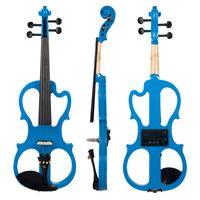 Full Size 4/4 Massivholz stille elektrische Violine Fiddle Ahorn Korpus Ebony Griffbrett Pegs Kinnstütze