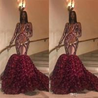 Cuello alto 2019 Sirena Vestidos de baile Sexy cuello redondo Apliques Tren rosa Vestidos de noche Cremallera Volver Mangas largas Vestido de fiesta africana